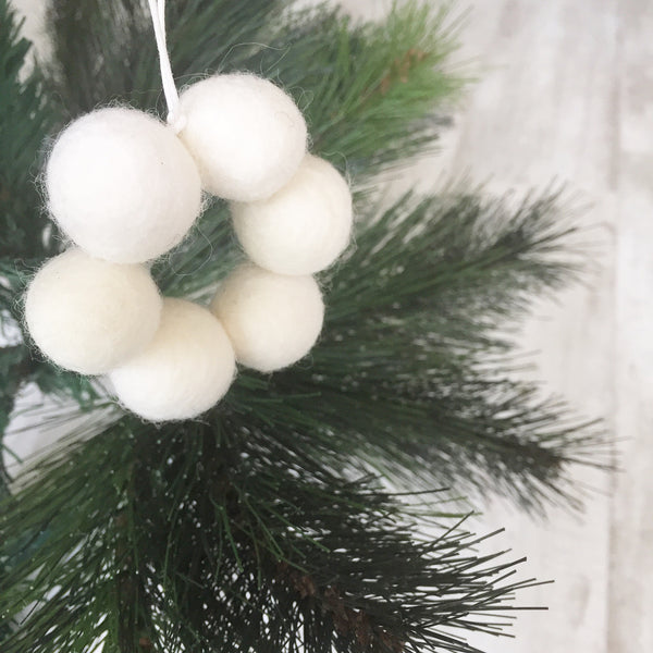 Mini Felt Ball Wreath - White Christmas Accessories Winston + Grace