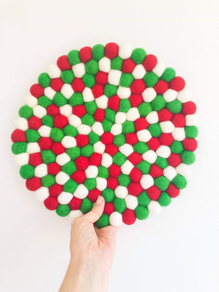 Felt Ball Mini Mat (trivet) - Christmas  Winston + Grace