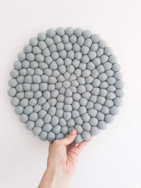 Felt Ball Mini Mat (trivet) - Light Grey  Winston + Grace
