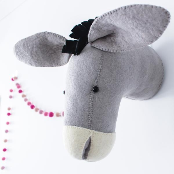 Fiona Walker Felt Animal Head- The Donkey - Mini
