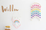 Rainbow Moon Felt Ball Mobile - Pastel Rainbow  Winston + Grace