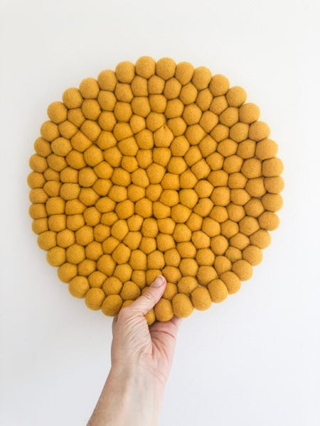 Felt Ball Mini Mat (trivet) - Mustard