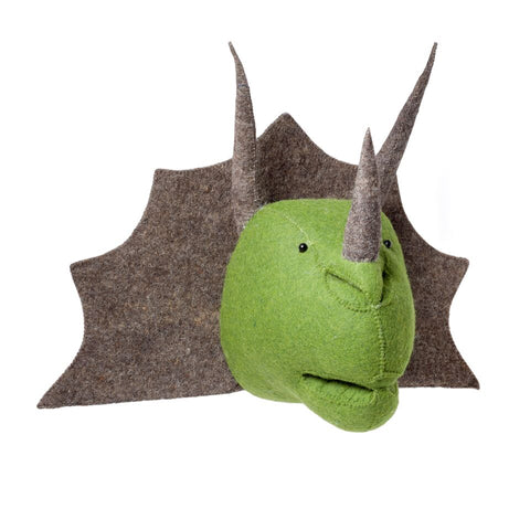 Fiona Walker Felt Animal Head - Dinosaur Triceratops  Winston + Grace
