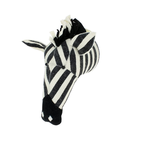 Fiona Walker Felt Animal Head - The Striped Zebra  Winston + Grace