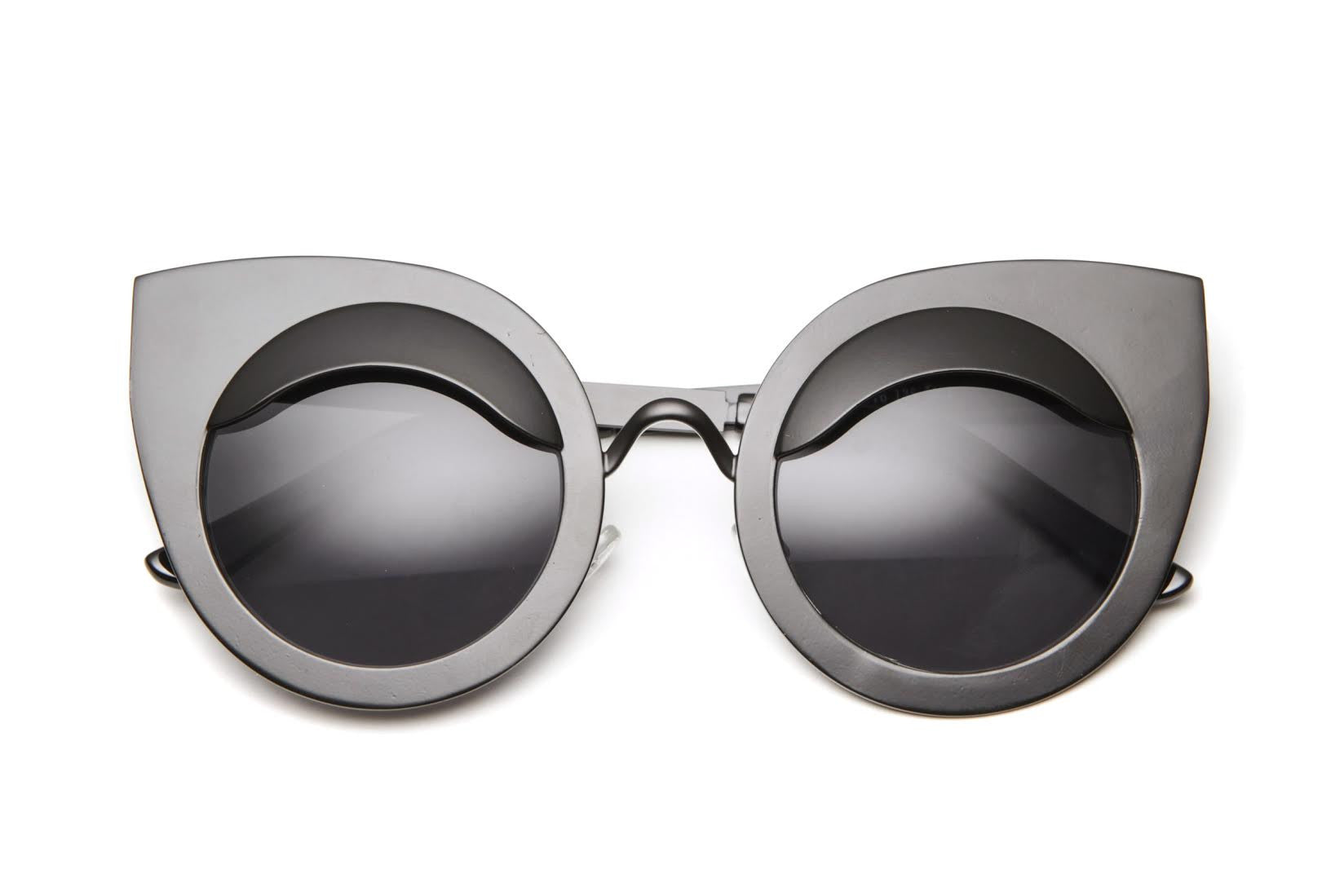Genesee Winged Metal Framed Cat Eye Sunglasses