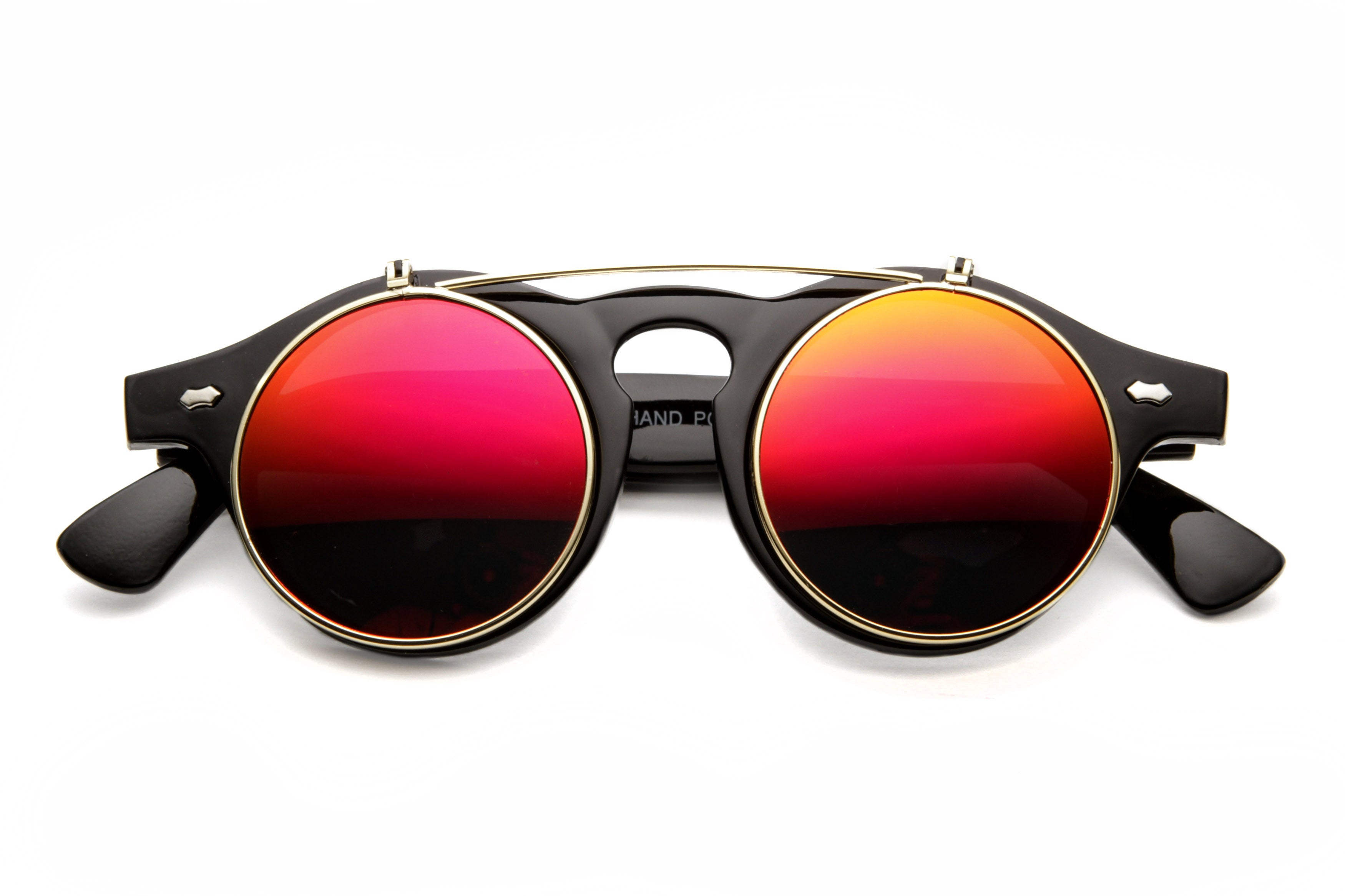 Inventor Round Vintage Clear Lens Flip Up Sunglasses