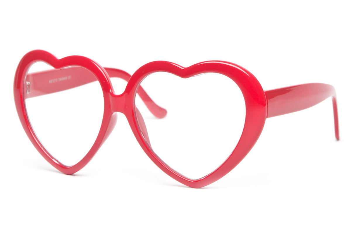 Lovely Heart Shaped Clear Lens Glasses