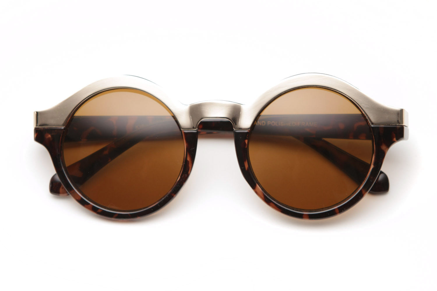Mix Metal Halfer Round Sunglasses