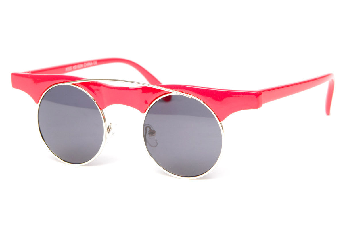 Round Brow Bar Half Frame Sunglasses