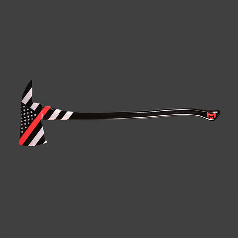"""Thin Red Line"" Hand-Painted Axe"
