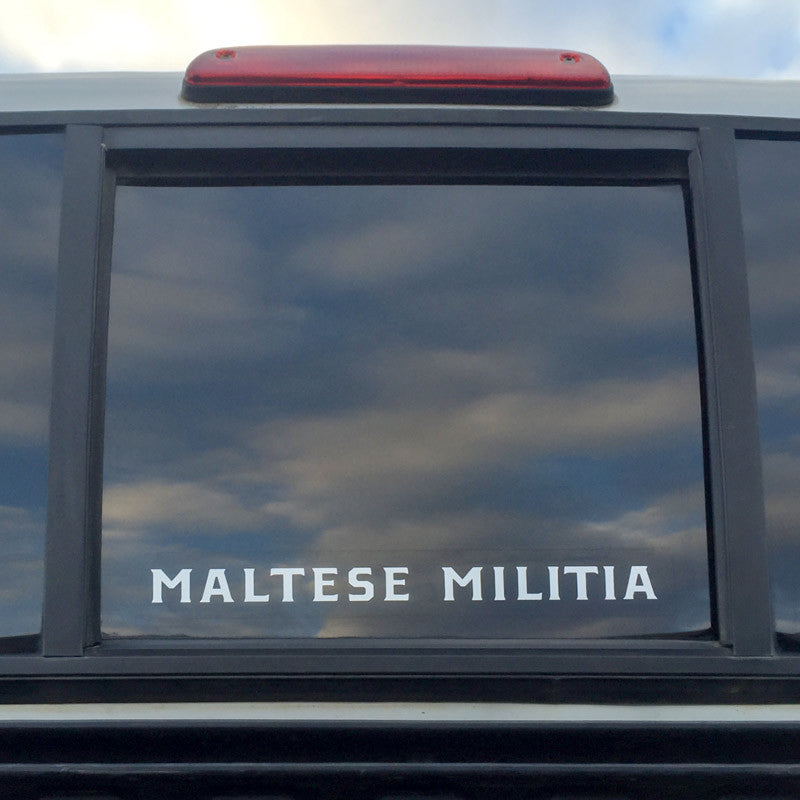 "Maltese Militia Vinyl Decal | 10"" White -  - 1"