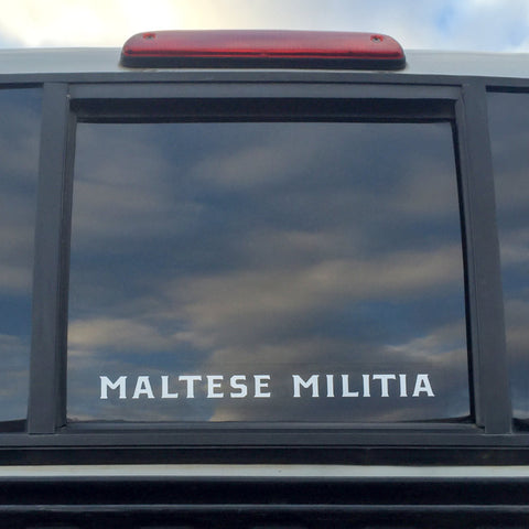 "Maltese Militia Vinyl Decal | 10"" White"