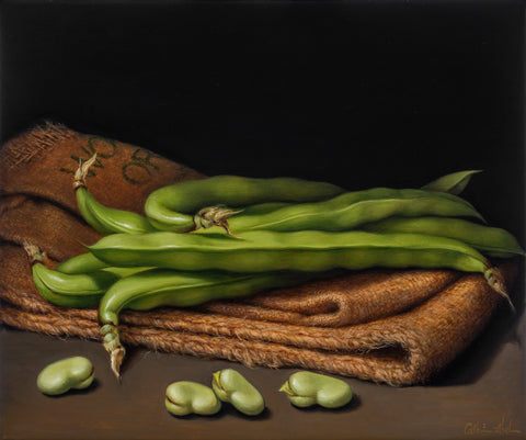 STILL LIFE WITH BROAD BEANS AND HESSIAN