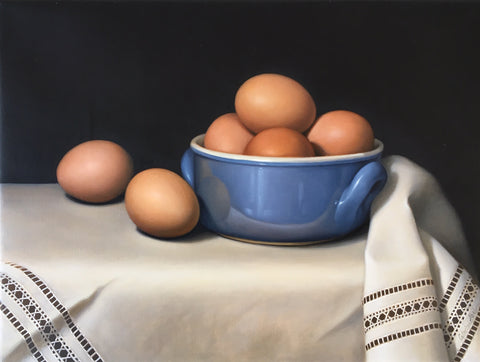 STILL LIFE WITH EGGS IN A BLUE BOWL