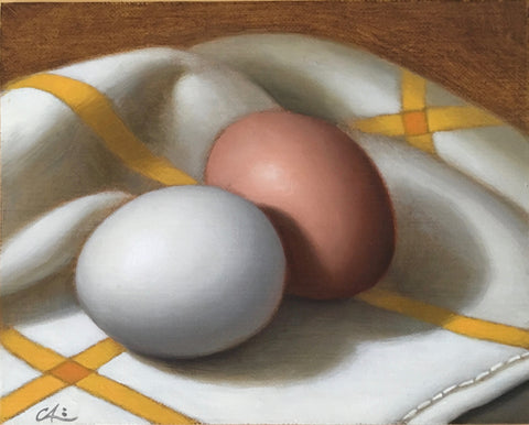 EGGS ON A TEA TOWEL III