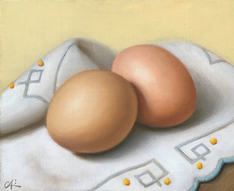 EGGS ON EMBROIDERED CLOTH V