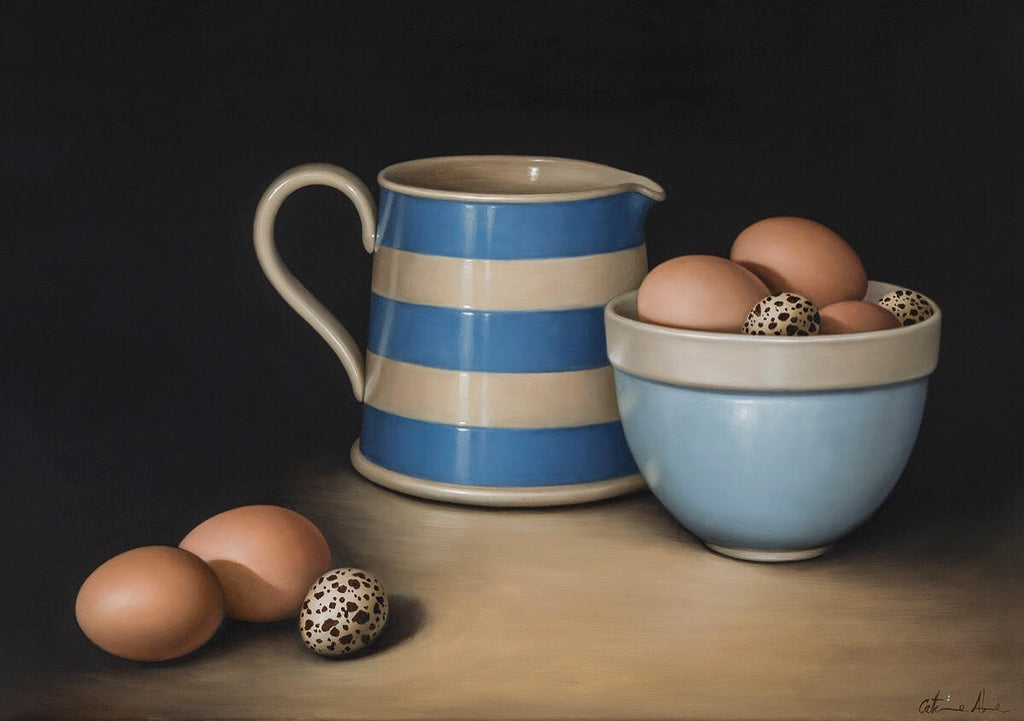 STILL LIFE WITH BLUE & CREAM JUG