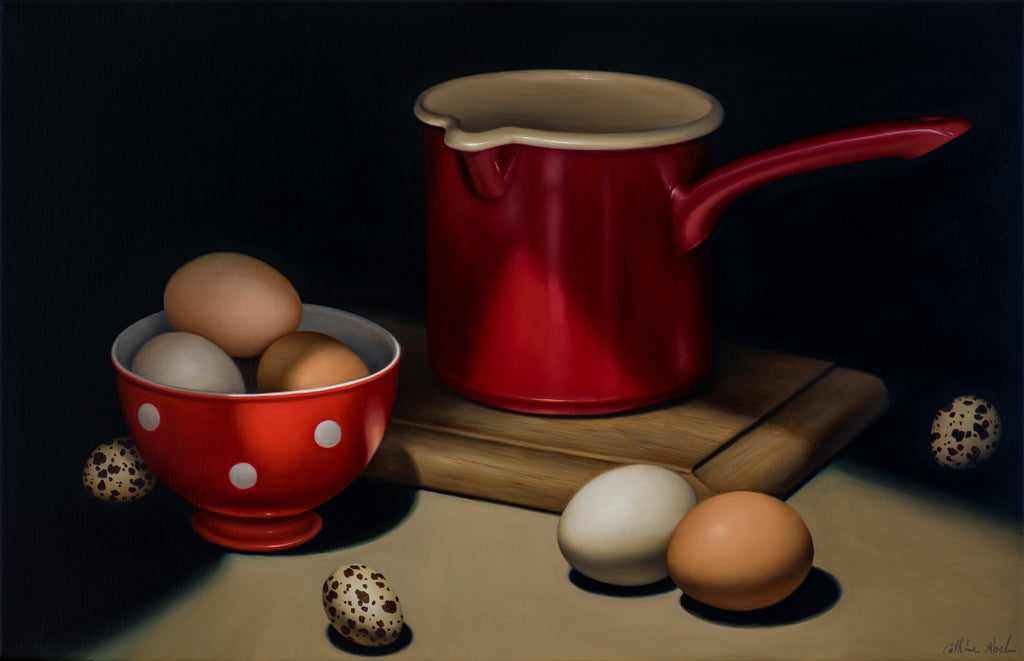 STILL LIFE WITH RED ENAMEL MILK JUG