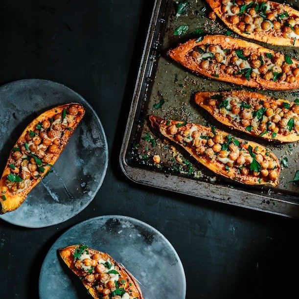 Chickpea & Sweet Potato Boats