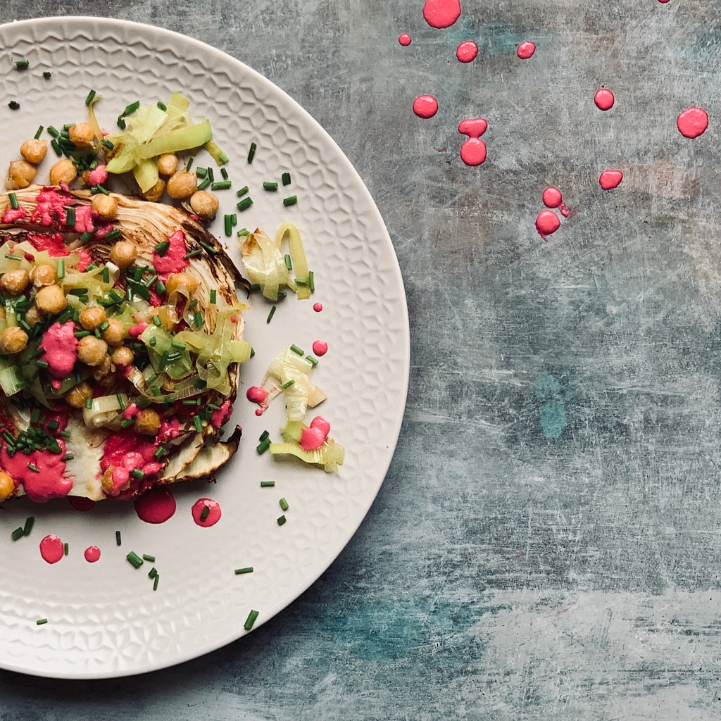 Cabbage Steaks with Vegan Beetroot Cream