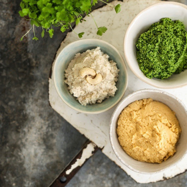 Parsley Pesto and Sesame-Free Hummus