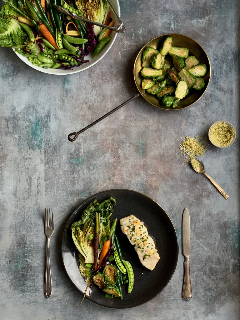 fish and charred lettuce salad recipe
