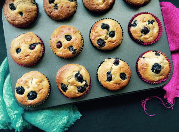 Blueberry Muffins with banana and pear
