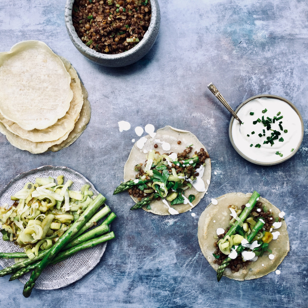 Lentil and asparagus vegan soft tacos recipe