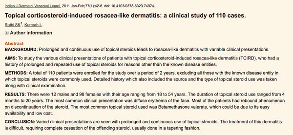 TSW topical steroid use and rosacea like dermatitis