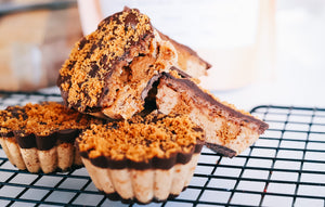 Chocolate Caramel Protein Cups with Biscoff Crumb