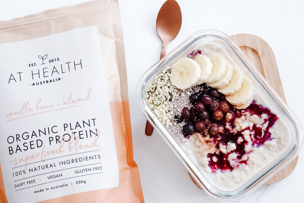 At Health Australia Protein Oats. Creamy Vanilla Protein with Rolled Oats create a delicious high protein meal.  These At Health Australia Overnight Oats or Protein Porridge is the best tasting protein oats recipe.
