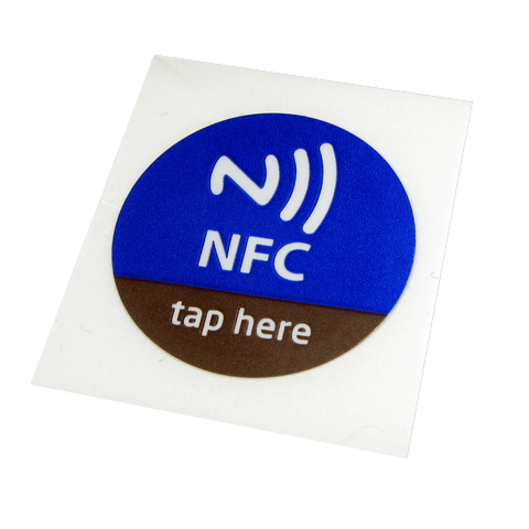 Blue Round 29mm Tap Here NFC Tags