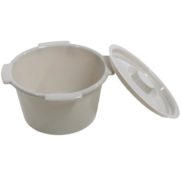 Half Pail For Commode Chair White With Lid 6 Quart