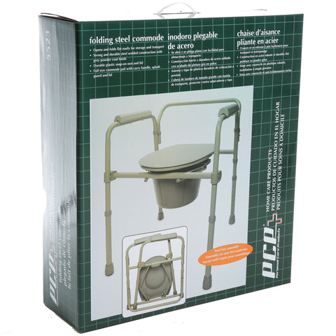 Folding Coated Steel Commode