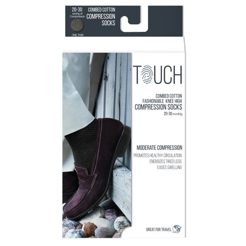 Touch 1020, Men's Knee High Compression Socks, 20-30 mmHg