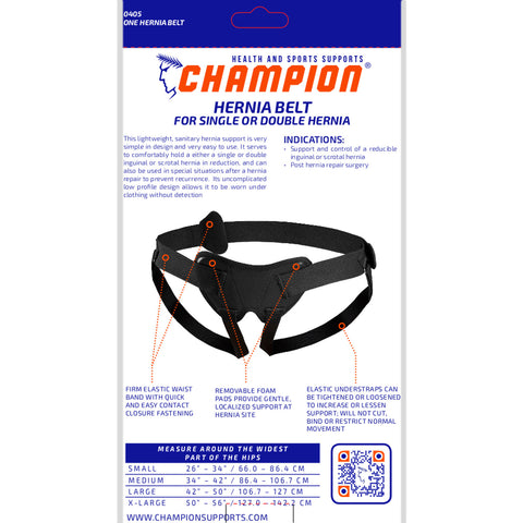 Champion C-405, Hernia Belt for Single or Double Hernia