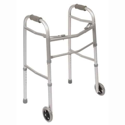 Double Button Folding Walker w/ Wheels