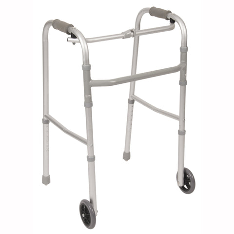 Single Button Folding Walker w/ Wheels