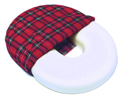Foam Ring Cushion w/ Plaid Cover, 14""