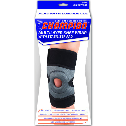 Champion C-476, Multilayer Knee Wrap with Stabilizer Pad