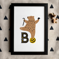 'B' is for... Monogram Nursery Illustration by Poppetry