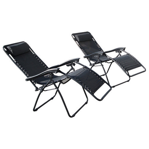 ... Zero Gravity Chairs Case Of (2) Black Lounge Patio Chairs Outdoor Yard  Beach New ...