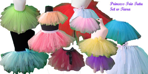 Dress Up Princess Trio Tutus with Wand and Tiara/Crown