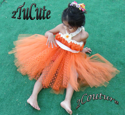 Orange and Ivory Delight Fitted Tulle Dress