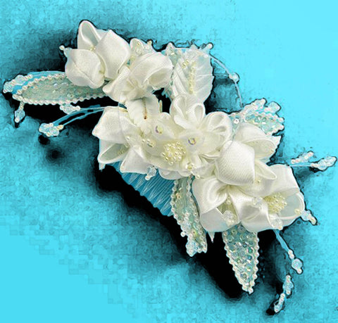 Bridal Special Occasion Satin Flower and Pearl Head Piece