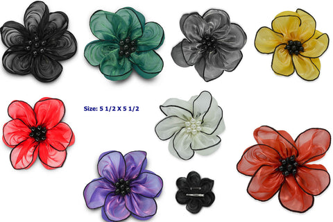 Organza Flower Brooch and Hair clip