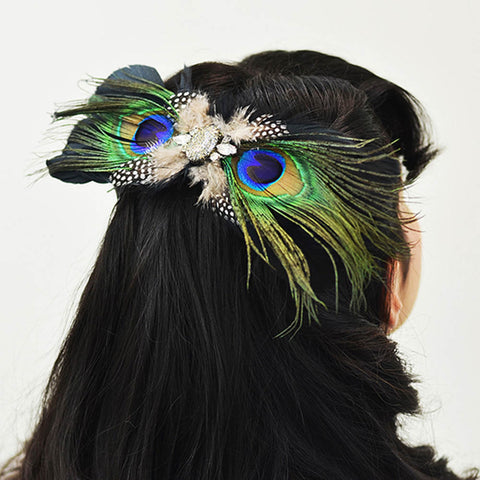 Avanti Peacock Feather Brooch/Hair clip
