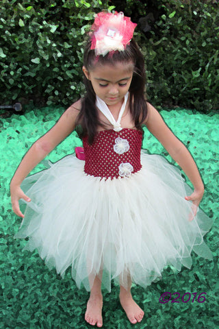 Wine and Ivory Tutu Dress