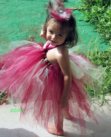 Ivory and Wine Tutu Dress