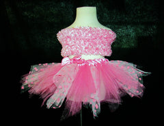 Ladies Special Pink and Hearts Tulle Skirt